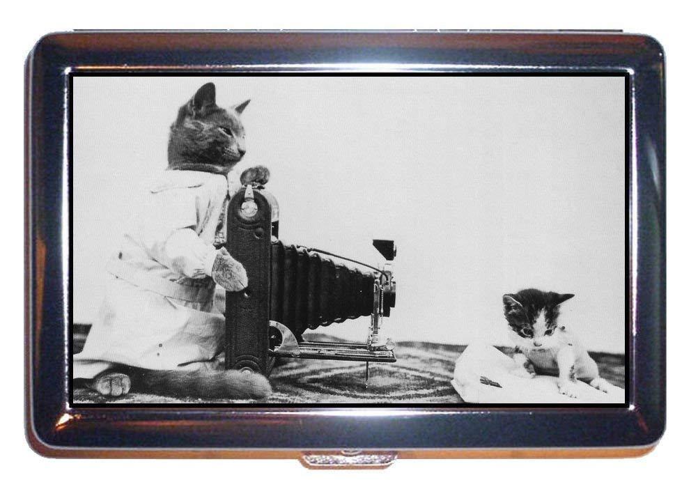 猫写真家Kitten c1910キュート古いPic :ステンレススチールIDまたはCigarettesケース( Kingサイズまたは100 mm )   B00U6W5AU2