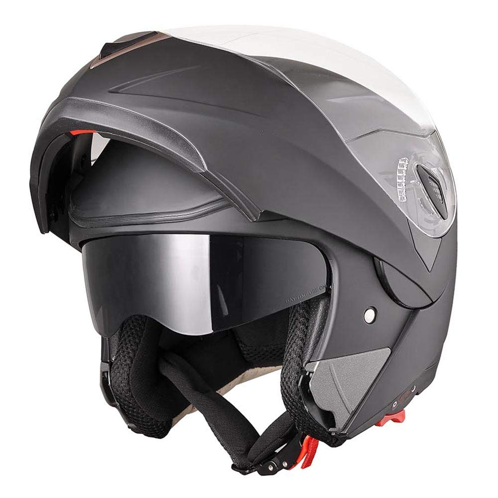 AHR Full Face Flip up Modular Motorcycle Helmet DOT Approved Dual Visor Motocross Matt Black XL
