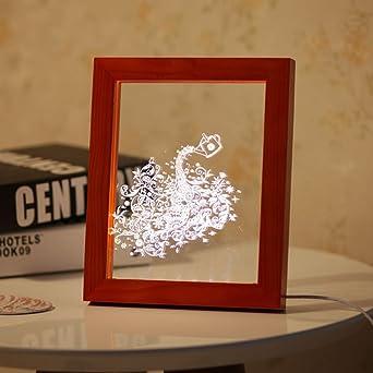 Ledmomo 3d Led Licht Holz Dekoration Vogel Bilderrahmen Schreibtisch