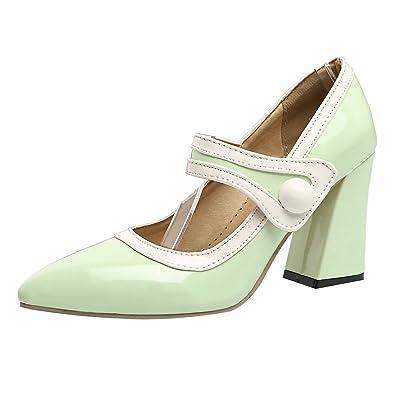 UH Damen High Heels Blockabsatz Pumps mit Schnalle 8cm Absatz Work Office Schuhe