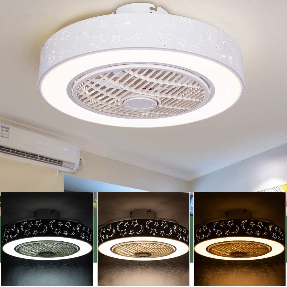 Ceiling-Fan with Lights and Remote-Control, Contemporary Ceiling Lights Dimmable 40W, Fan Light for Living Room, Bedroom