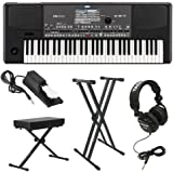 Korg PA600 Professional Arranger Keyboard with Knox Keyboard Bench, Knox Keyboard Stand Full-Sized Headphones and Universal Sustain Pedal