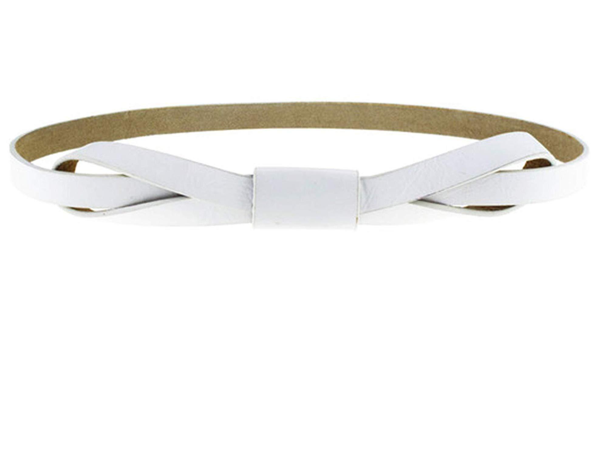 KEBINAI Women Bowknot Faux Leather Thin Women Belt,110cm,White