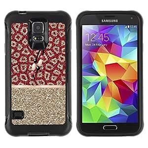 Paccase / Suave TPU GEL Caso Carcasa de Protección Funda para - Gold Glitter Fur Pattern Indian - Samsung Galaxy S5 SM-G900