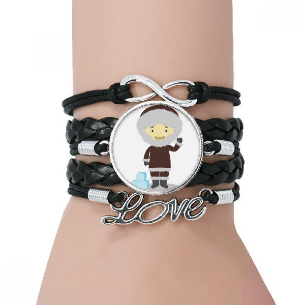 DIYthinker Cold Jacket Greenland Cartoon Bracelet Love Black Twisted Leather Rope Wristband