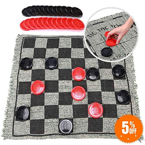 - Super Tic Tac Toe and Giant Checkers Board Game for Kids and Adults, 1214 Inches 3 in 1 Reversible Rug with Jumbo Pieces, Best for Outdoor Play, Lawn and Backyard Games, Fun Family Games and Gift
