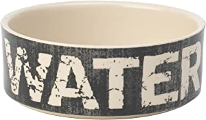 PetRageous 10001 Vintage Stoneware Dog Water Bowl with 2-Cup Capacity 5-Inch Diameter by 2-Inch Tall Great for Small and Medium Sized Dogs and Cats, Black and Natural