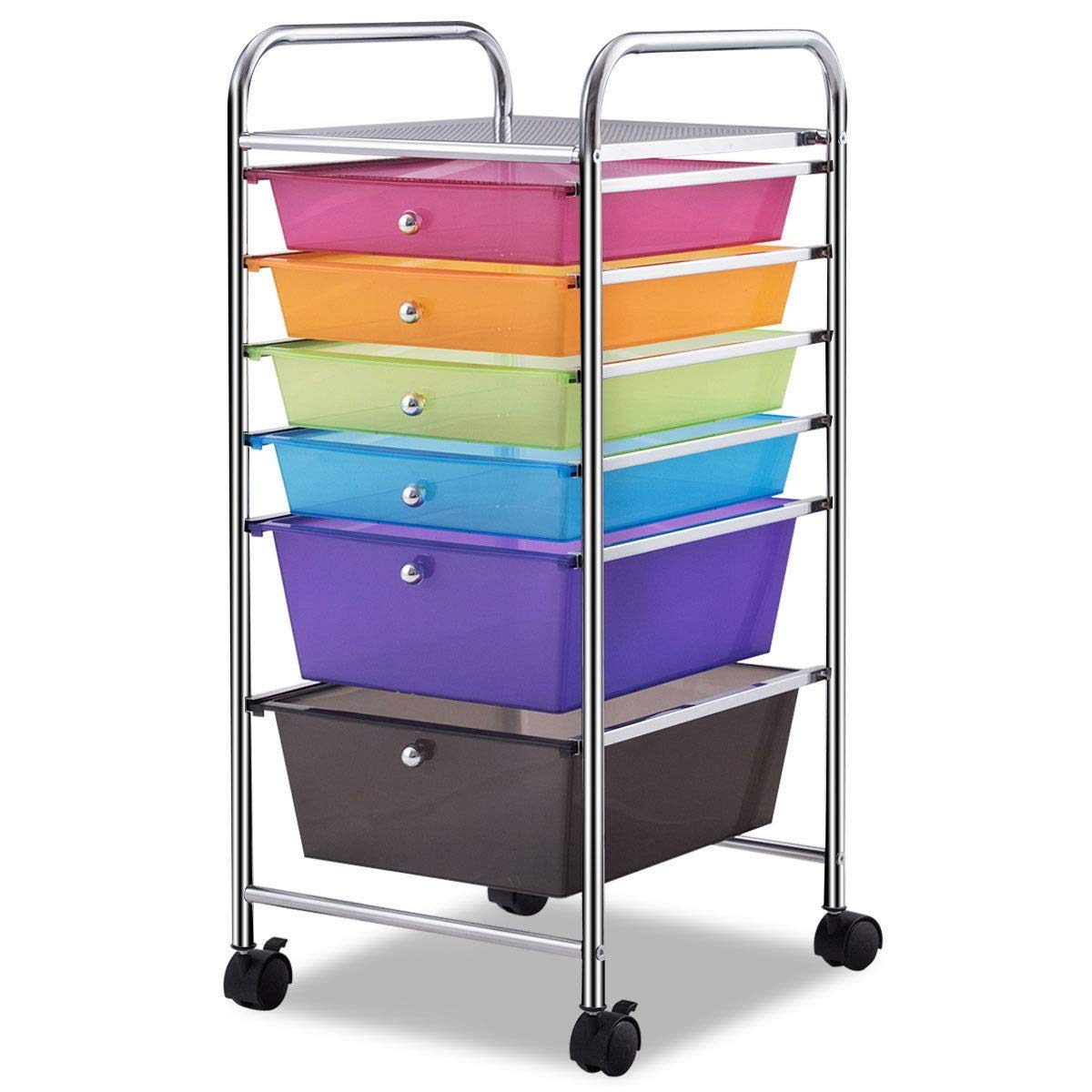 USA_Best_Seller 6 Drawers Sturdy Colorful Rolling Storage Cart Organizer Steel PP Bathroom Dorm Rooms Closets Kitchen Office Furniture Moving Wheels Clear Plastic Brakes