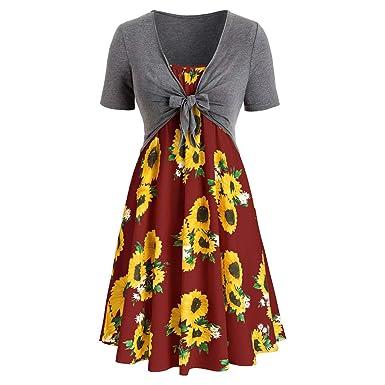 Myoumobi_ Vestido de Moda con Estampado de Girasol, Vestido de ...