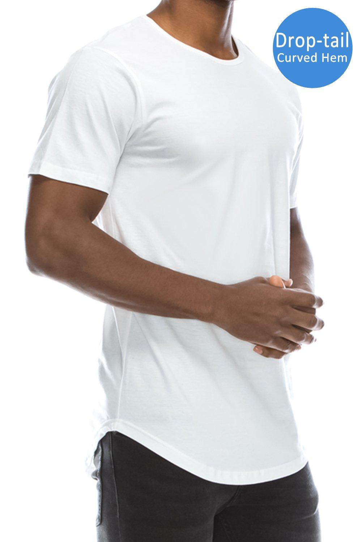 JC DISTRO Mens Hipster Hip Hop Cotton Elong Crewneck T-Shirt White XXXLarge