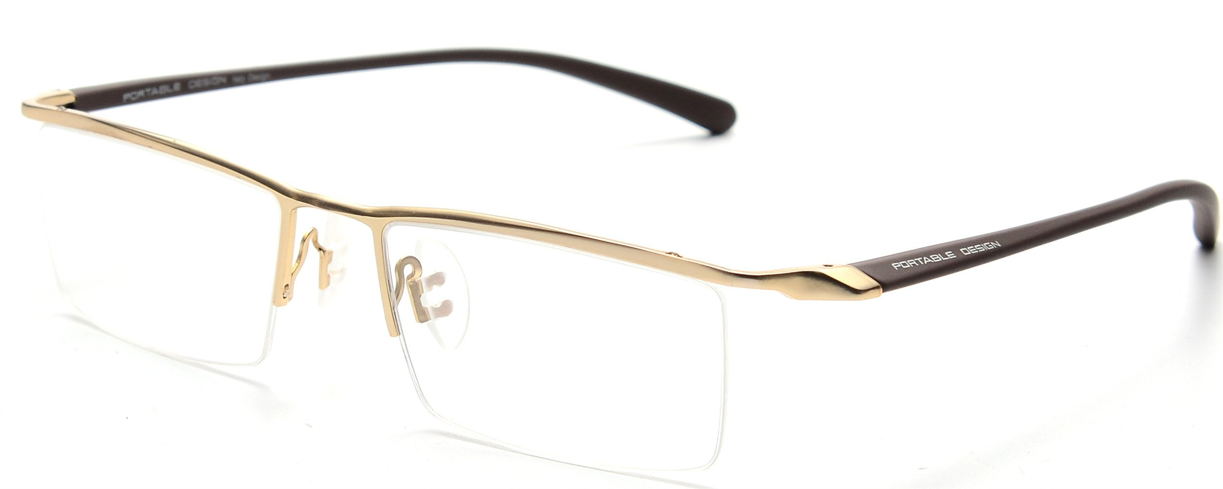 JNS Titanium Semi-rimless Eyeglasses Business Optical Frame Clear Lens