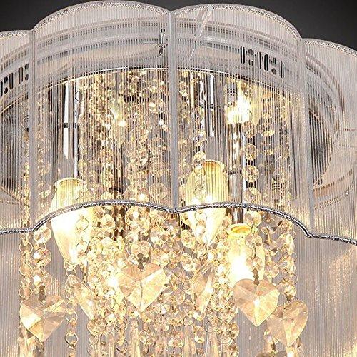 LightInTheBox Contemporary Crystal Chandelier Lighting Hotel Restaurant Kitchen French Style 40W Pendant Light Flush Mount Ceiling Light Fixture for Bedroom Living Baby Room Foyer (White)