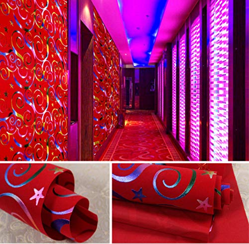 Hcffch Wallpaper 3D Latest Ktv New Style Bar Wallpaper Wall Paint Fashion  Paper Red Decorative Tv Background Wall