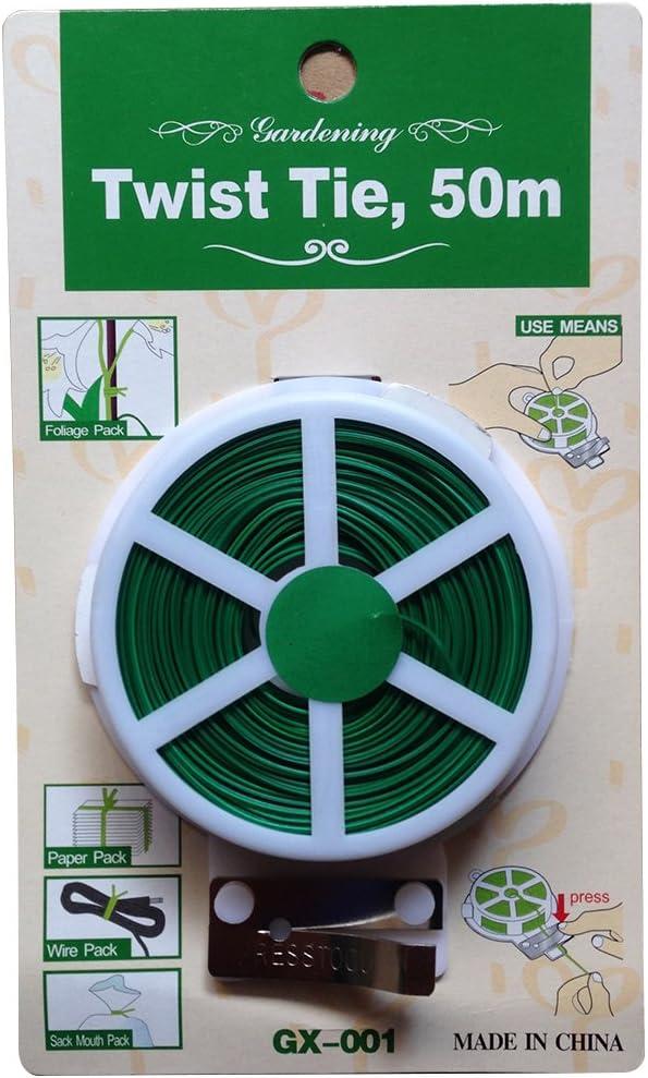 OUNONA - Bridas de alambre recubiertas de plástico (50 m), color verde