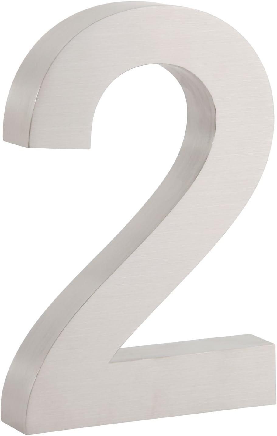Verschiedene Zahlen zur Auswahl matt geb/ürstet Schrifttyp: Arial H 3 cm V2A Edelstahl 20 x Edelstahl Hausnummer T modernes 3D Design,