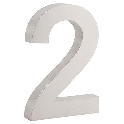 Zelsius nbsp;– Número de casa de acero inoxidable, V2 A, cepillado mate, aspecto 3D, tipo de texto: Arial, varios números a elegir, acero inoxidable, ...
