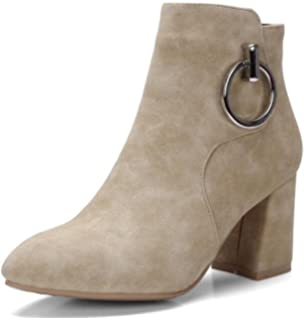 Women's Elegant Pointed Toe Faux Suede Mid Chunky Heels Short Ankle Boots With Zipper