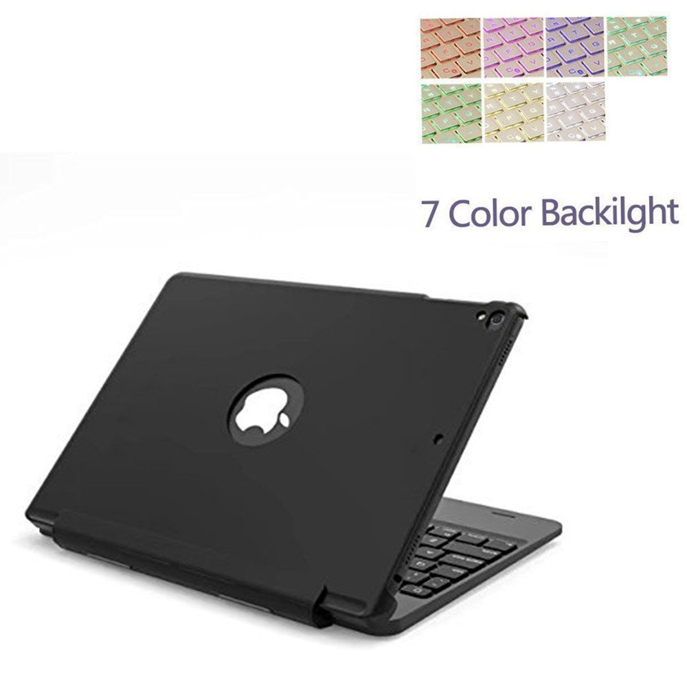 Keyboard Cover for 9.7''iPad Pro, Vacio 7 Color Backlit Detachable Smart Keyboard Case Slim Fit Folio Back Cover with Wireless Bluetooth Keyboard for iPad Pro 9.7 Inch (Black) by Vacio