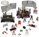 Mini Wrestling Ring Playset with Figures & Accessories [BONUS] 2 Wrestling Rings Included