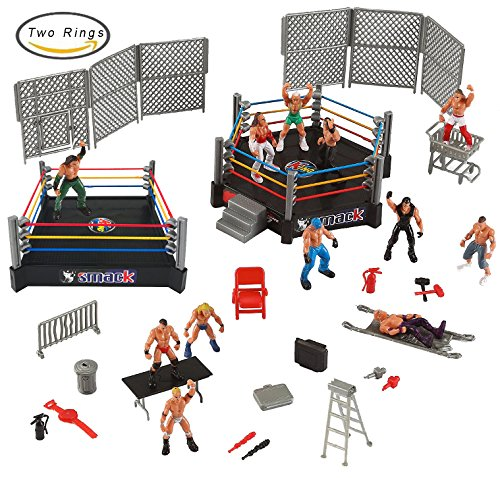 Liberty Imports Mini Wrestling Ring Playset with Figures & Accessories [BONUS] 2 Wrestling Rings Included by Liberty Imports