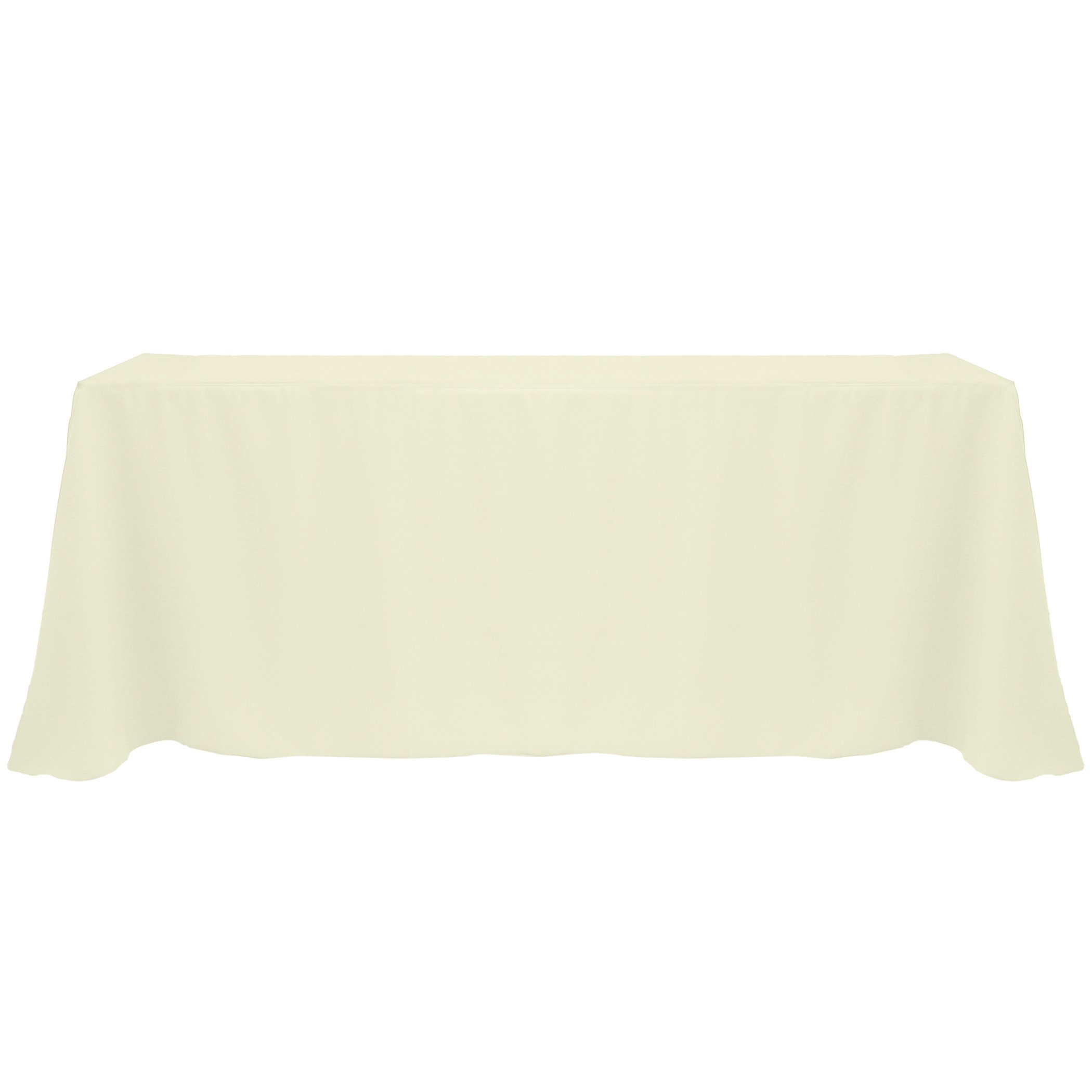 Ultimate Textile (5 Pack) 90 x 132-Inch Rectangular Polyester Linen Tablecloth with Rounded Corners - for Wedding, Restaurant or Banquet use, Ivory Cream by Ultimate Textile (Image #1)