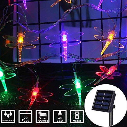 Outdoor String Lights Solar Dragonfly Christmas Lights Led Decor Wedding Party Christmas Home Garden Patio (20Feet 40Led, Color) ()