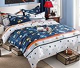 Cliab Baseball Bedding for Boys Queen Size Blue White Orange Bed Sheets 100% Cotton Duvet Cover Set 5 Pieces