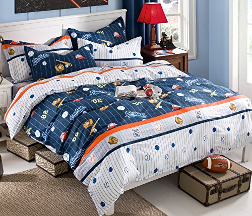 Cliab Baseball Bedding For Boys Queen Size Blue White