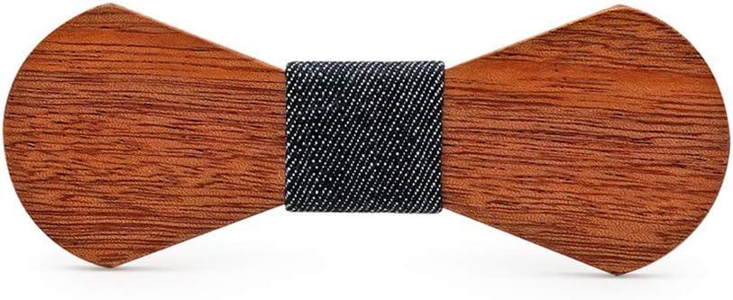 Lindhb Corbatas de Lazo de Madera Boda Personalizada Hecha a Mano del Regalo del día de Padre de la Pajarita de Madera sólida (Color : D)
