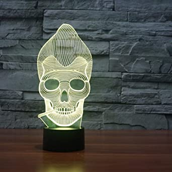 BFMBCHDJ Esqueleto humano Lámpara de mesa táctil 7 colores Lámpara ...