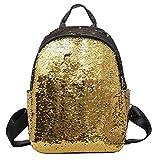 EUzeo Fashion Girl Sequins School Bag Backpack Satchel Student Travel Shoulder Bag (Gold)