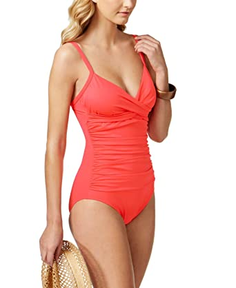 e7983a6f6d115 Image Unavailable. Image not available for. Color: Swim Solutions Womens  Shirred Surplice Tummy-Control One-Piece Swimsuit Coral 16