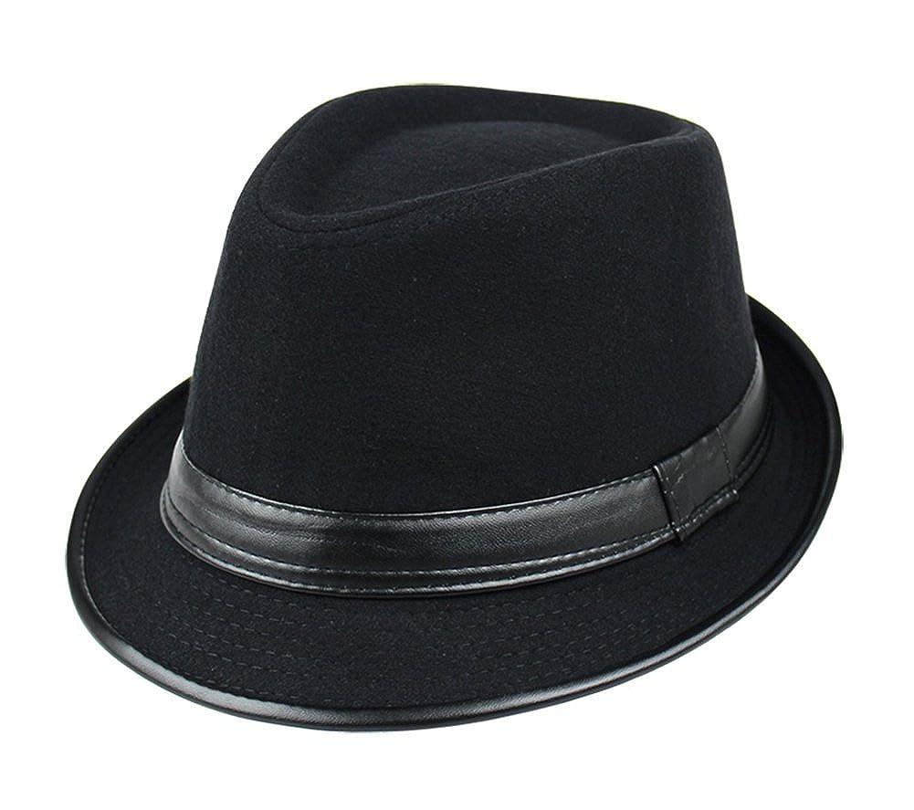 9200db5ea71b5 Amazon.com  Summerwhisper Women s Men s Wool Leather Fedora Trilby Hat Cap  Unisex Black  Clothing