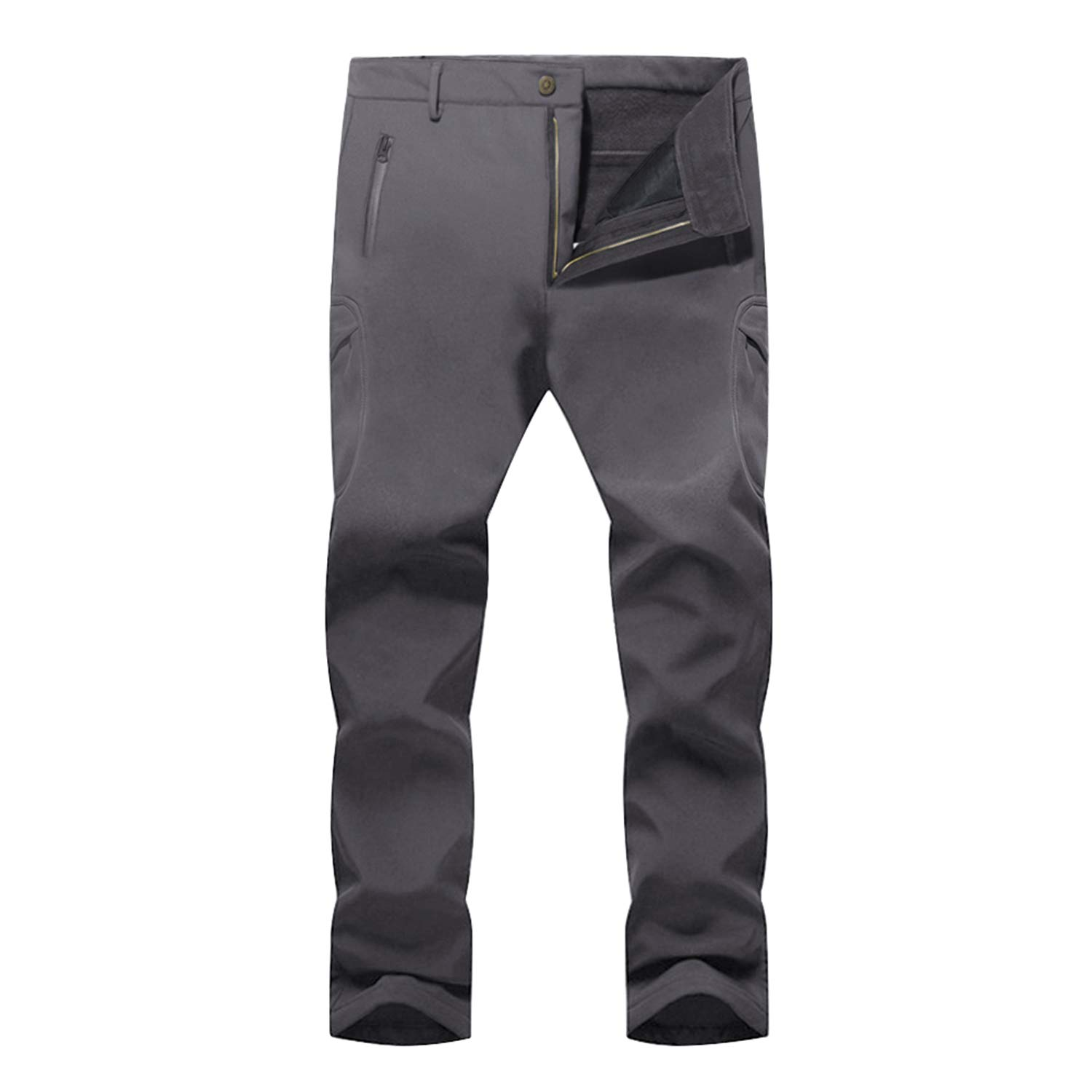 LASIUMIAT Mens Outdoor Windproof Hiking Pants Mountain Waterproof Ski Pants Soft Shell Fleece Lined