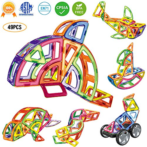 Rainbrace Magnetic Blocks Set for Kids, 3D Magnet Tiles Magnetic Building Blocks Preschool Educational Construction Kit, Magnetic Shape Toys Gifts for Boys Girls Toddler 3 4 5 Up Year Old