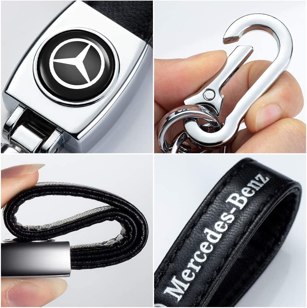 1Pack Leather Key Chain Suit for AMG with keychain for Mercedes-Benz A C E S Class Series,GLK CLA GLA GLC GLE CLS SLK AMG Series car logo Keyring