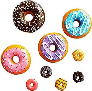 KUKI 9Pcs/Set 3D Donut Food Series Strong Refrigerator Fridge Magnets Sticker for Whiteboard Decoration Office Locker Magnets for Adults Toddlers Kids Calendar, Photo, Kitchen, Classroom