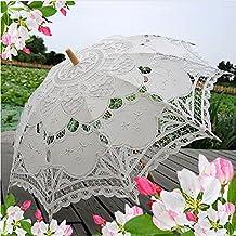 Tracfy Lace Parasol Umbrella Costume Bridal Party Decoration Photo Props Embroidery Pure Cotton Lady Child Kid Bridal Umbrella Outdoor Sun Parasols(White)