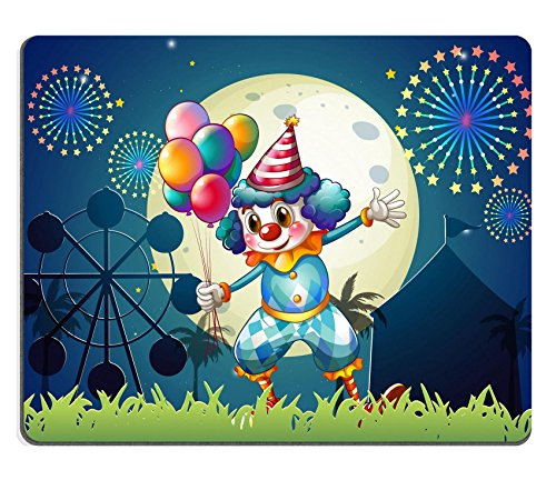 [Luxlady Mousepad Illustration of a clown with balloons standing in front of the carnival IMAGE] (Amusement Clown Costume)