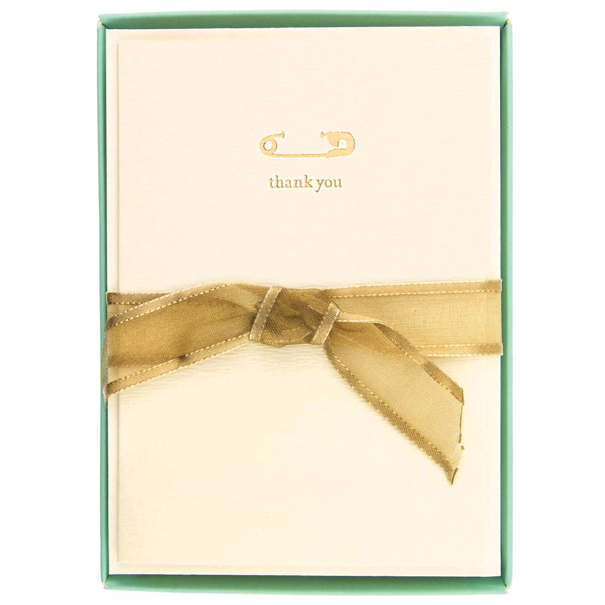 """Graphique Box of Thank You Cards, Safety Pin – Includes 10 Cards with Matching Envelopes and Storage Box, Cute Stationery Made of Durable Heavy Cardstock, Cards Measure 3.25"""" x 4.75"""""""