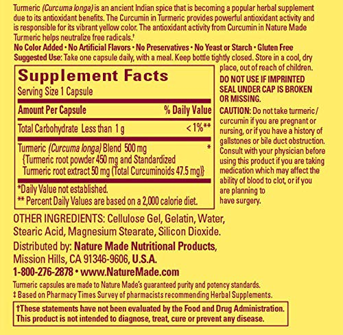Nature Made Turmeric Curcumin 500 mg