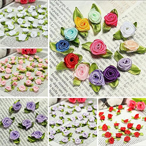 Satin Flower Embellishments (100 PCS Mini Ribbon Bows Roses Flowers Craft Artificial Ornament Applique Sewing DIY (Multicolor))