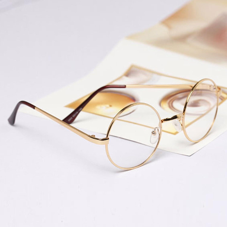 7575a7ae3bd7 MaxAike 1 Retro Metal Frame Clear Lens Round Glasses Plain Mirror 53mm 53mm  (Rose Gold