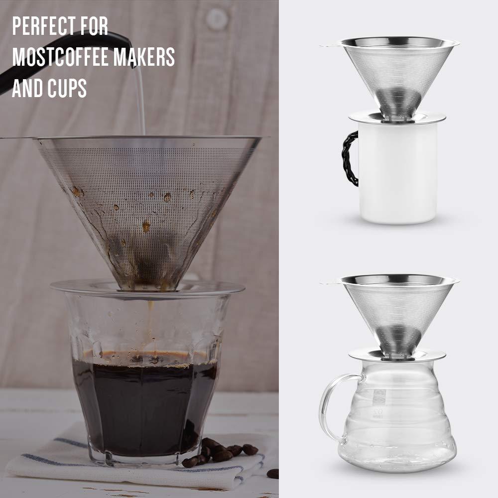 /übergie/ßen Sie den Kaffeetropf-Filter papierloser Soulhand Edelstahl-Kaffeefilter wiederverwendbarer Doppelschicht-Kaffeefilter mit Sockel und 30 ml Kaffee-Schaufel leicht zu reinigen 2-4 Tassen