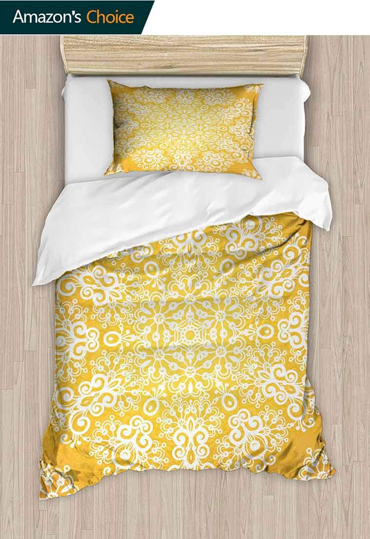 Yellow Custom Made Quilt Cover and Pillowcase Set, Snowflake Like Floral Artistic Pattern Design with Tribal Inspired Artwork, Reversible Coverlet, Bedspread, Gifts for Girls Women, 79 W x 90 L Inches