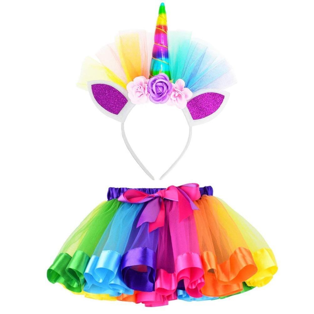 Clearance!!Kids Party Dance Ballet Costume Set,Girls Rainbow Layered Tutu Skirt + Hairband (S, Red)
