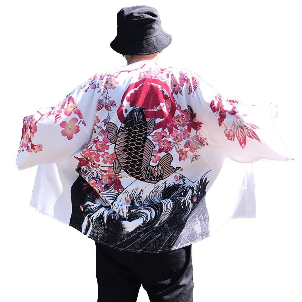 Siehin Men Japanese Yukata Coat Kimono Outwear Vintage Casual Top Cardigan Open Front Coat
