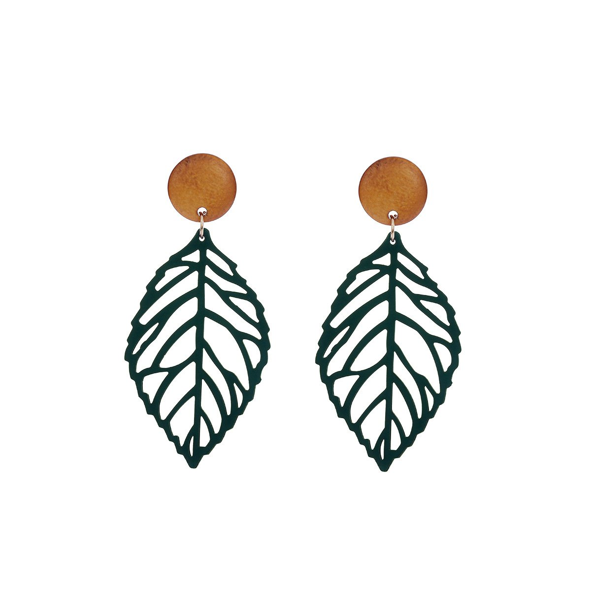 Leaf Pendants Earrings for Girls Nature style Hollow Statement Drop Earrings Fashion Jewelry (Green/1Pair)