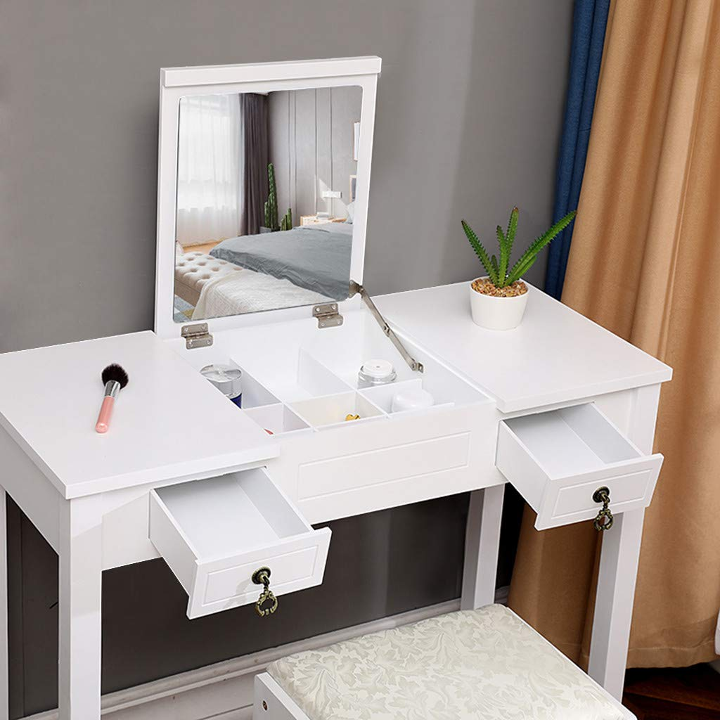 Chenway Dressing Tables Vanity Set with Flip Top Mirror Makeup Dressing Table Writing Desk with 2 Drawer [Ship from USA Directly] (White)