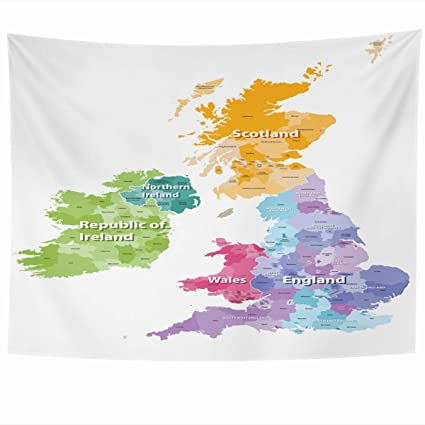 Map Of Ireland And Wales.Amazon Com Ahawoso Tapestry Wall Hanging 60x50 Inches Map Wales